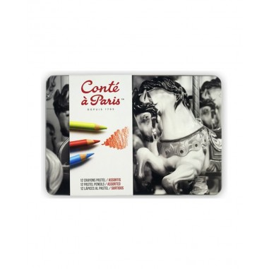 Caja metálica 12 lápices pastel | Conté à Paris