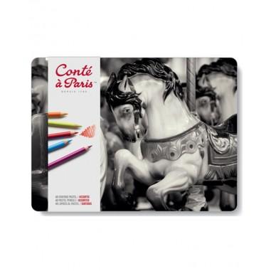 Caja metálica 48 lápices pastel | Conté à Paris